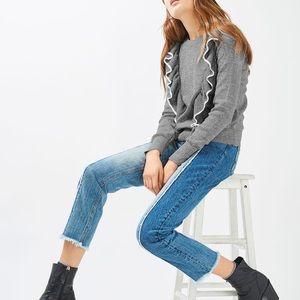 TOPSHOP Tipped Gray Ruffle Sweater Sweatshirt
